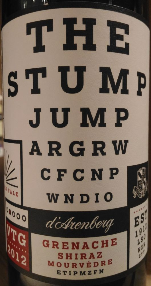 d'Arenberg Pty Ltd THE STUMP JUMP Grenache Mourvèdre Shiraz McLaren Vale 2012, Main, #3676